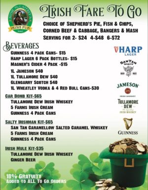 2021 Irish Fair togo menu